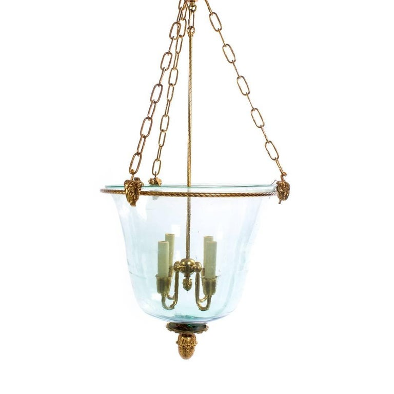Bronze And Glass Three Light Hall Lantern From The Pen And