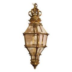 Antique French Bronze and Beveled Glass 3-Light Glass Lantern, circa 1890