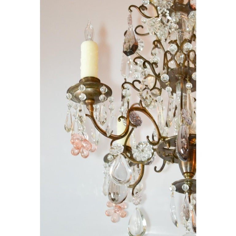 Faceted Antique French Bronze and Crystal Chandelier