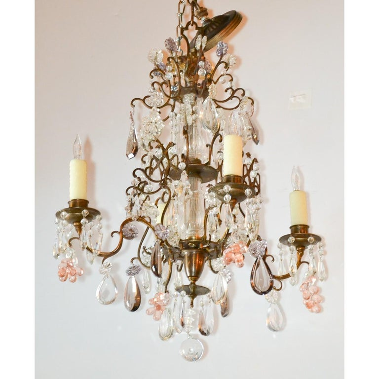 Antique French Bronze and Crystal Chandelier In Good Condition In Dallas, TX