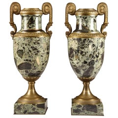 Antique French Bronze and Marble Cassolettes