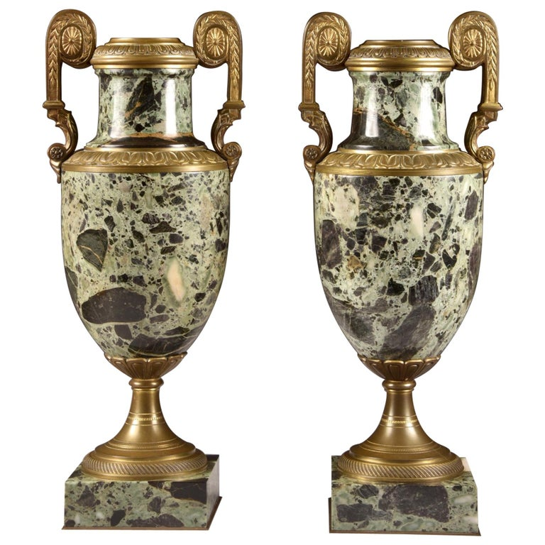 Antique French Bronze and Marble Cassolettes For Sale