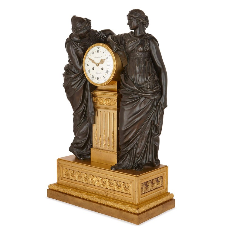 This large mantel clock is an excellent piece of refined neoclassical design by the acclaimed Deniere et Fils firm. Deniere was one of the leading practitioners of luxury bronzeware in Paris in the mid-19th century, and received commissions from