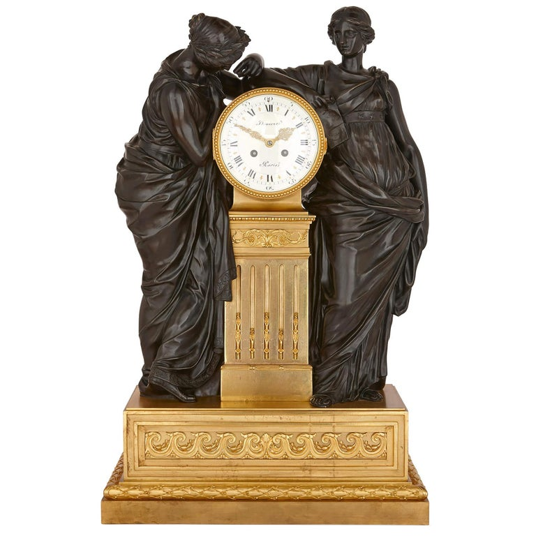Antique French Bronze and Ormolu Mantel Clock For Sale