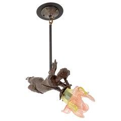 Antique French Bronze Art Nouveau Flying Maiden Chandelier Light Lamp 1900