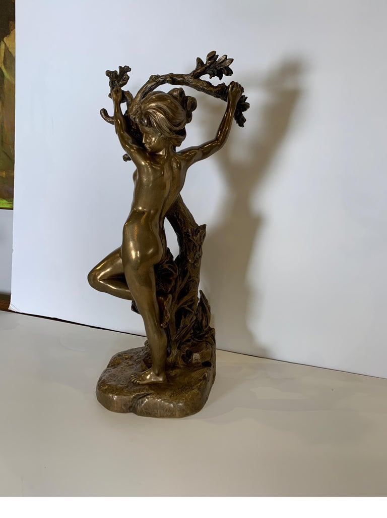 An Artist-signed Art Nouveau nude figure Artist-signed A. Croisy on the base. Aristide Croisy (31 March 1840-7 November 1899) was a French sculptor. He is known for his dramatic bronze statues.