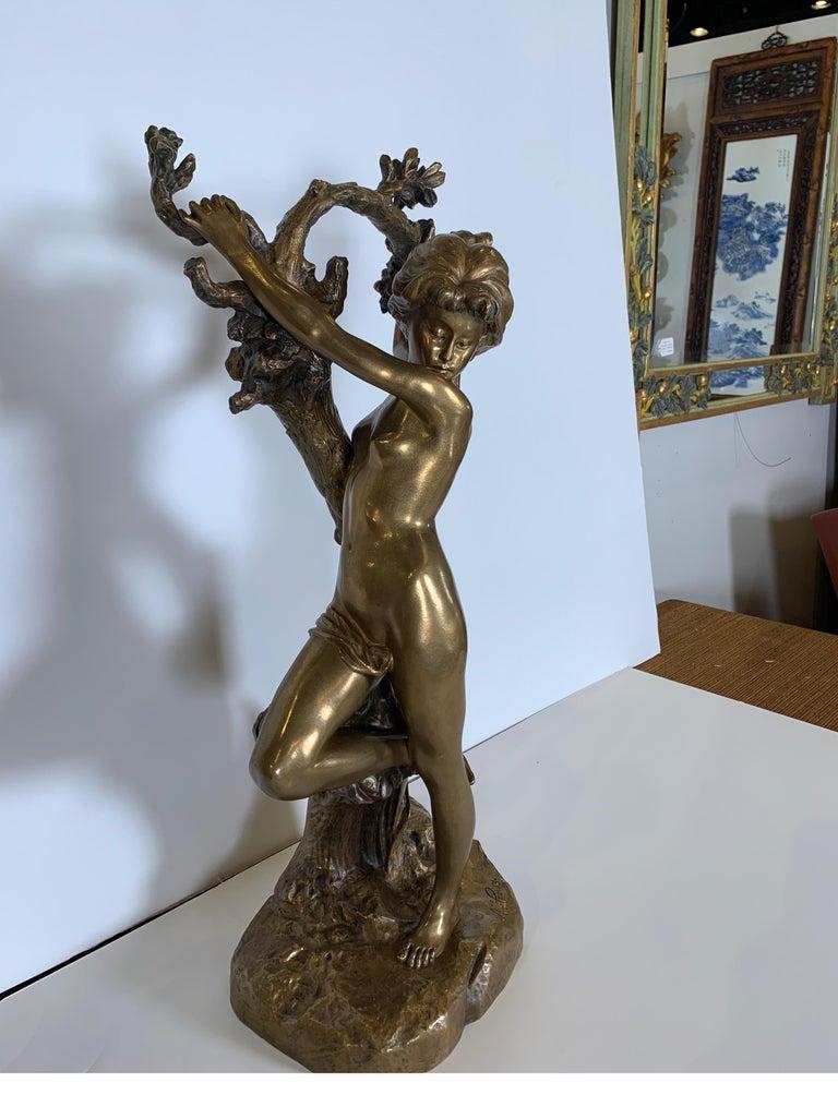 Antique French Bronze Art Nouveau Nude Sculpture In Excellent Condition For Sale In Lambertville, NJ