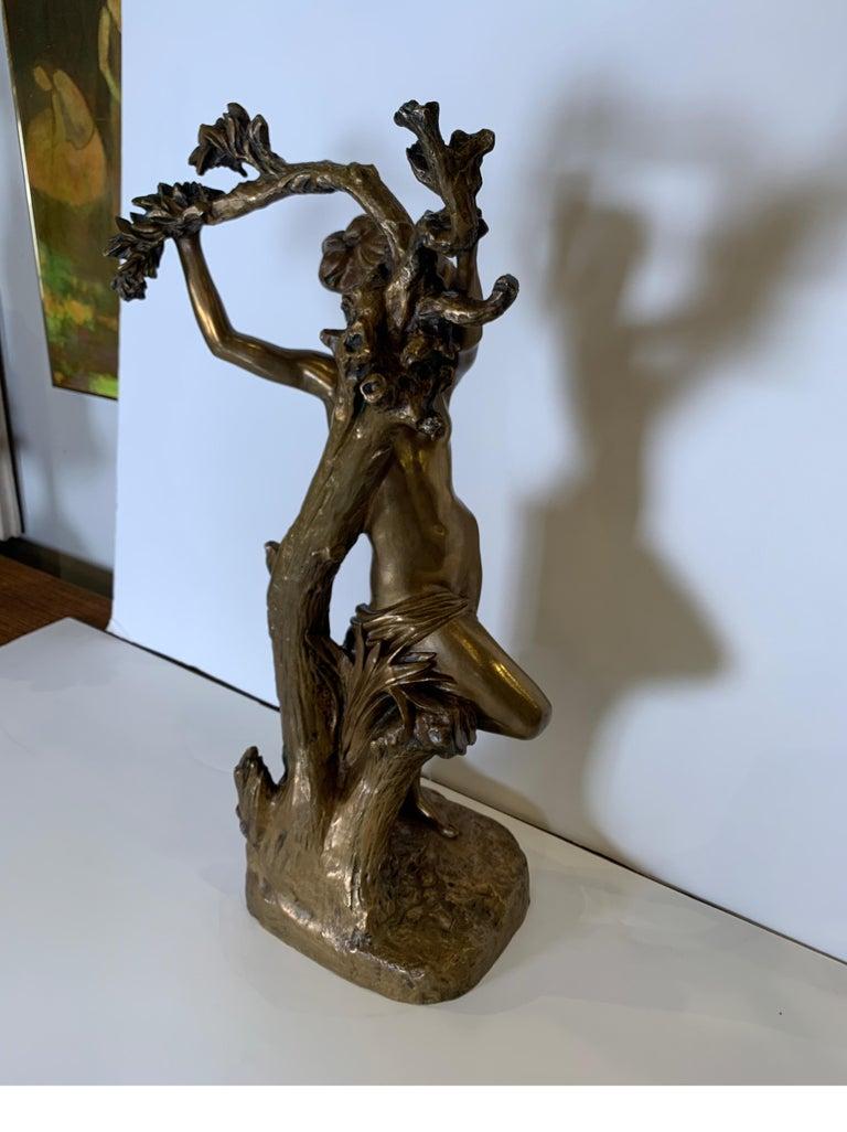 19th Century Antique French Bronze Art Nouveau Nude Sculpture For Sale