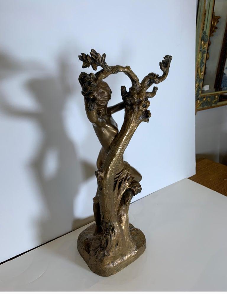 Antique French Bronze Art Nouveau Nude Sculpture For Sale 1