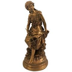 Antique French Bronze Auguste Moreau Statue, circa 1900