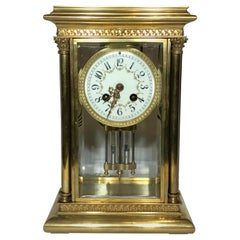 Antique French Bronze Clock with Mercury Pendulum, circa 1880-1890