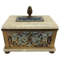 Antique French Bronze Cloisonné and Alabaster Keepsake Box