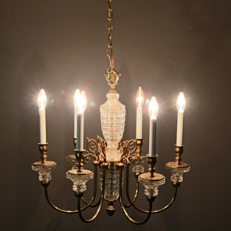 Antique French Bronze & Crystal 6-Light Chandelier, circa 1930 For Sale 10