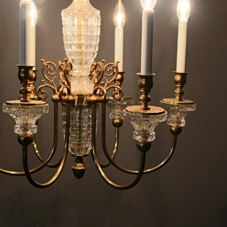 Antique French Bronze & Crystal 6-Light Chandelier, circa 1930 For Sale 11