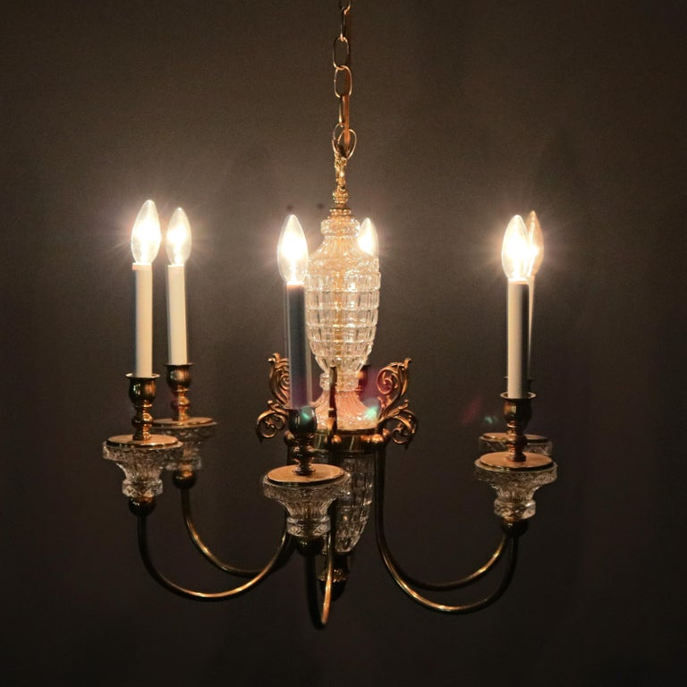 Antique French Bronze & Crystal 6-Light Chandelier, circa 1930 In Good Condition For Sale In Big Flats, NY