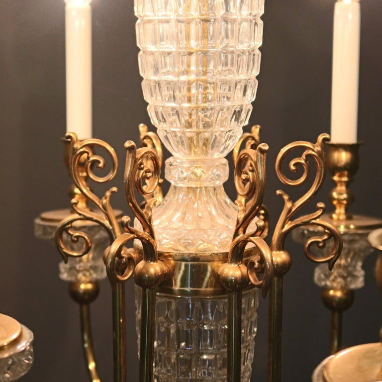 20th Century Antique French Bronze & Crystal 6-Light Chandelier, circa 1930 For Sale