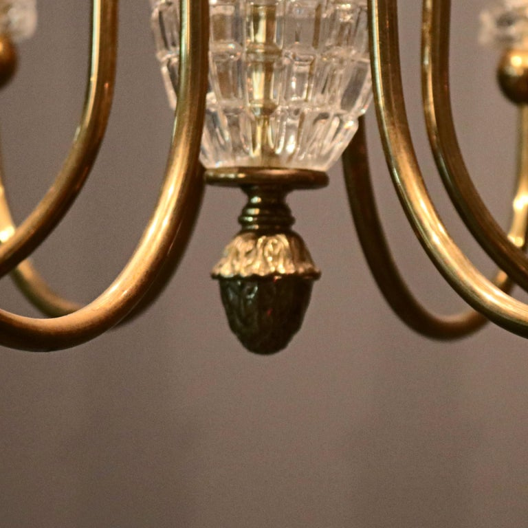 Antique French Bronze & Crystal 6-Light Chandelier, circa 1930 For Sale 2
