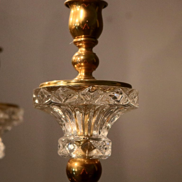 Antique French Bronze & Crystal 6-Light Chandelier, circa 1930 For Sale 3