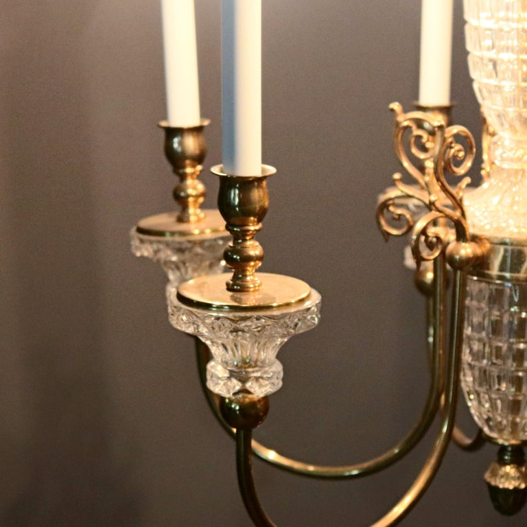 Antique French Bronze & Crystal 6-Light Chandelier, circa 1930 For Sale 4
