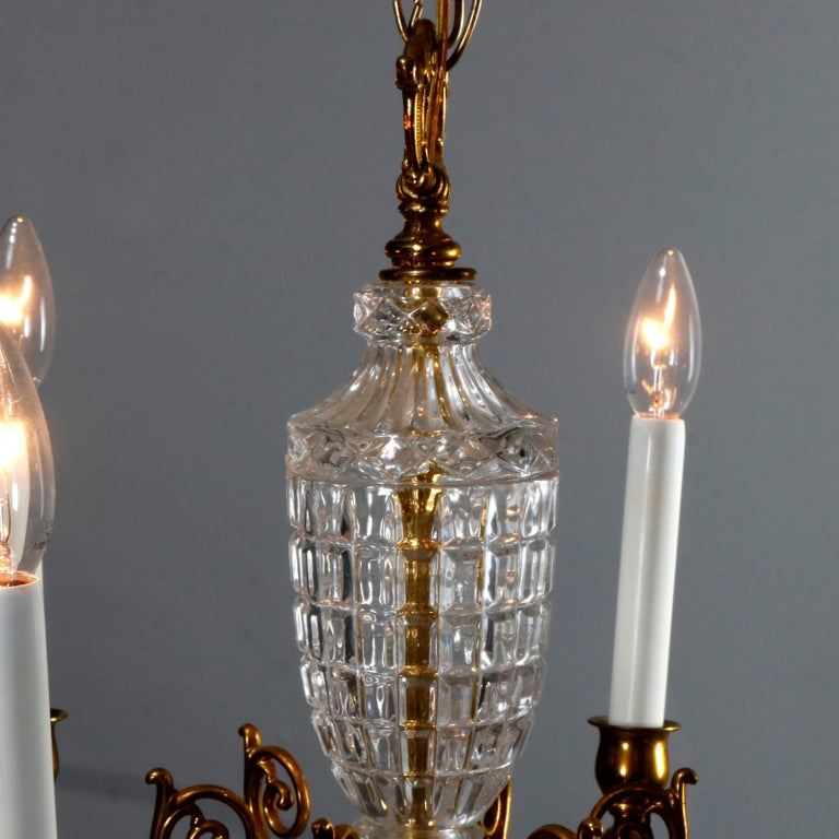 Antique French Bronze & Crystal 6-Light Chandelier, circa 1930 For Sale 5