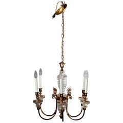 Antique French Bronze & Crystal 6-Light Chandelier, circa 1930