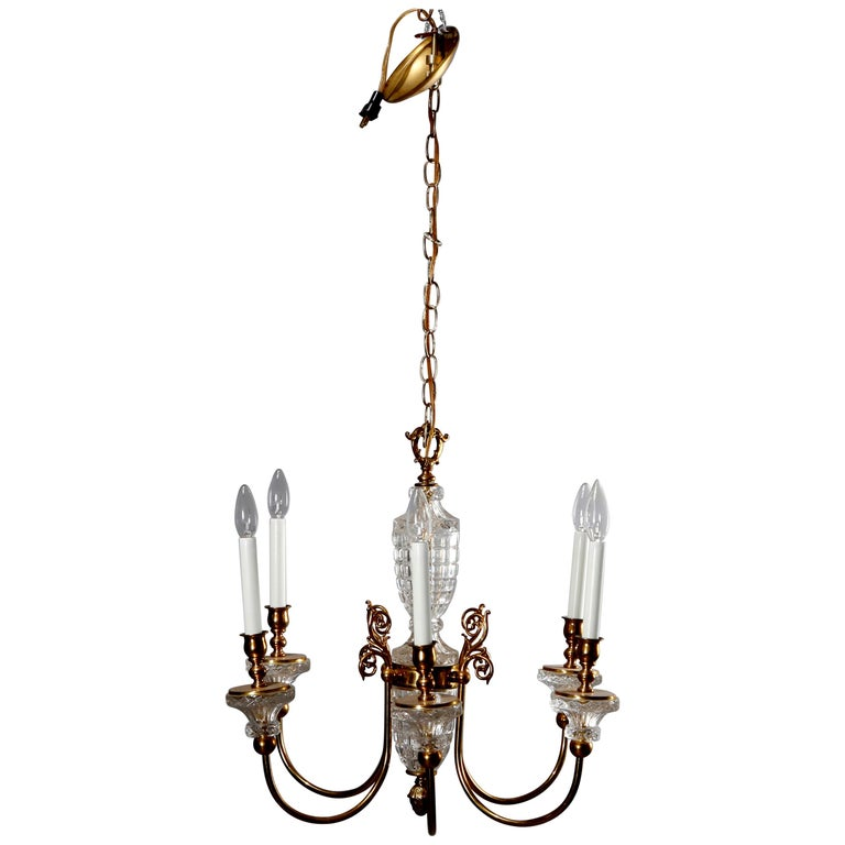 Antique French Bronze & Crystal 6-Light Chandelier, circa 1930 For Sale