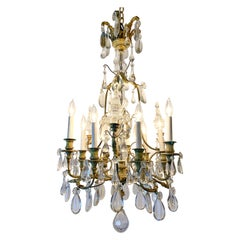 Antique French Bronze Crystal Chandelier, circa 1880-1890