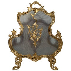 Antique French Bronze D'ore Fire Screen