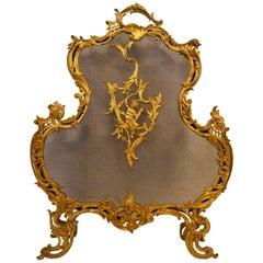 Antique French Bronze D'ore Firescreen
