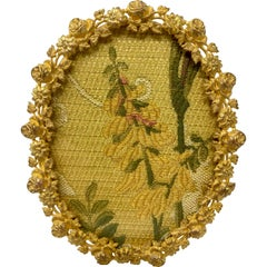 Antique French Bronze D'Ore Oval Floral Frame, circa 1890-1900.