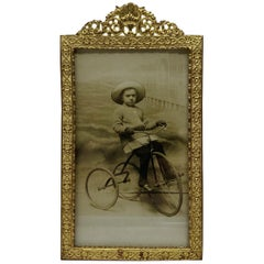 Antique French Bronze D'Oré Picture Frame with Original Photo, circa 1900