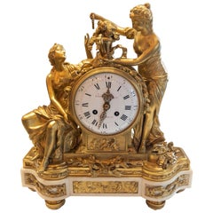 Antique French Bronze D'Ore White Carrara Marble Mantel Clock, Early 1800s