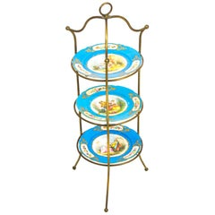 Antique French Bronze Étagères Cake Stand with Three Sevres Plate, 19th Century