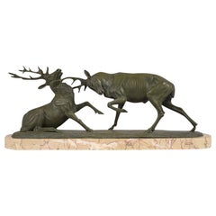Antique French Bronze Fighting Elk Statue