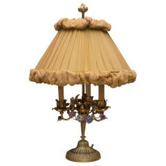 Antique French Bronze Lamp with Porcelain Flowers & Custom Silk Shade