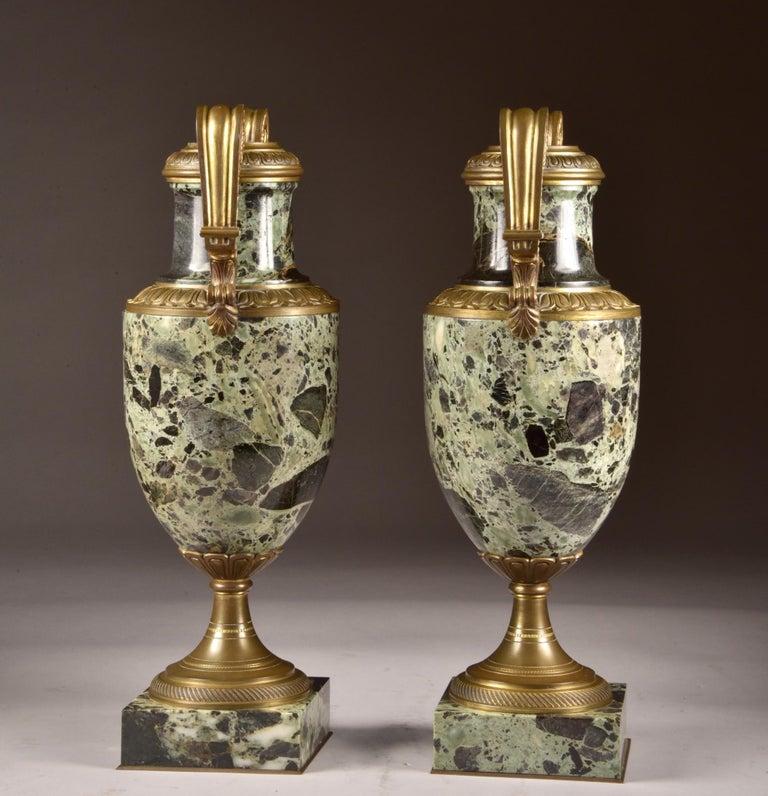 Art Nouveau Antique French Bronze and Marble Cassolettes For Sale