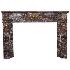Antique French Bronze Mounted Marble Mantle