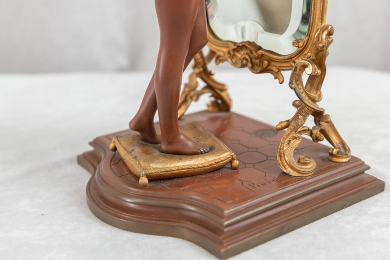 Antique French Bronze, Nude w/ Cheval Mirror, Artist Signed