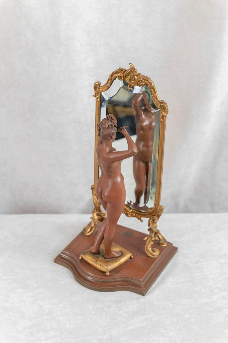 Patinated Antique French Bronze, Nude w/ Cheval Mirror, Artist Signed