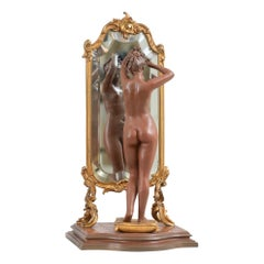"Antique French Bronze, Nude w/ Cheval Mirror, Artist Signed ""Pinedo"", ca. 1890"