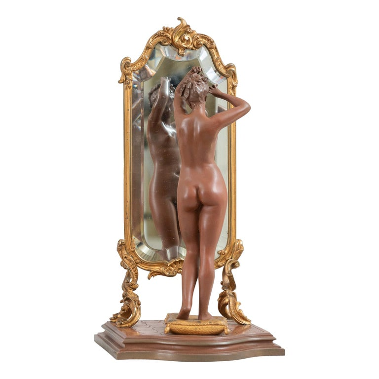 """Antique French Bronze, Nude w/ Cheval Mirror, Artist Signed """"Pinedo"""", ca. 1890 For Sale"""