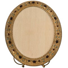 Antique French Bronze Picture Frame with Semi Precious Red and Blue Cabochons