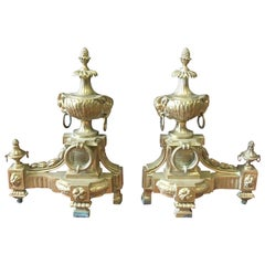 Antique French Bronze Rams Head Chenets, a Pair