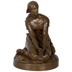 "Antique French Bronze Sculpture ""Joan of Arc"" after Henri Chapu by Bar"