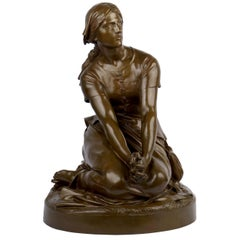 """Antique French Bronze Sculpture """"Joan of Arc"""" after Henri Chapu by Bar"""