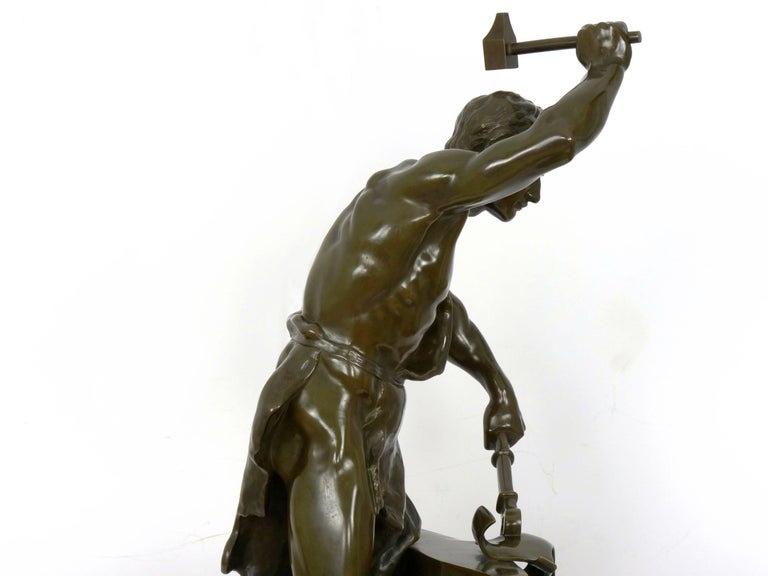 Antique French Bronze Sculpture of a Blacksmith by Adrien-Etienne Gaudez For Sale 15
