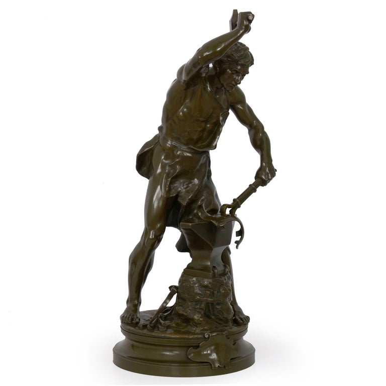 This is a Fine sculpture in bronze by Adrien Etienne Gaudez of a blacksmith laboring over his work, titled