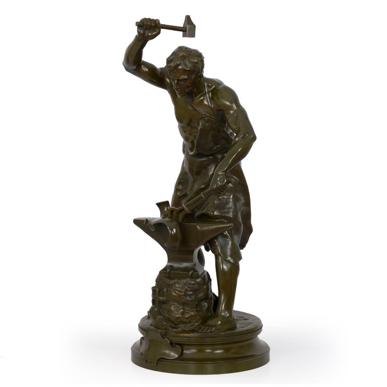 Antique French Bronze Sculpture of a Blacksmith by Adrien-Etienne Gaudez In Good Condition For Sale In Shippensburg, PA