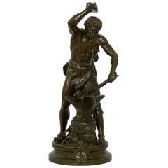Antique French Bronze Sculpture of a Blacksmith by Adrien-Etienne Gaudez