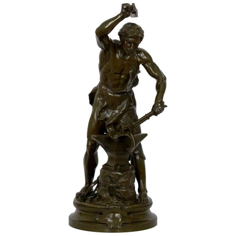 Antique French Bronze Sculpture of a Blacksmith by Adrien-Etienne Gaudez For Sale